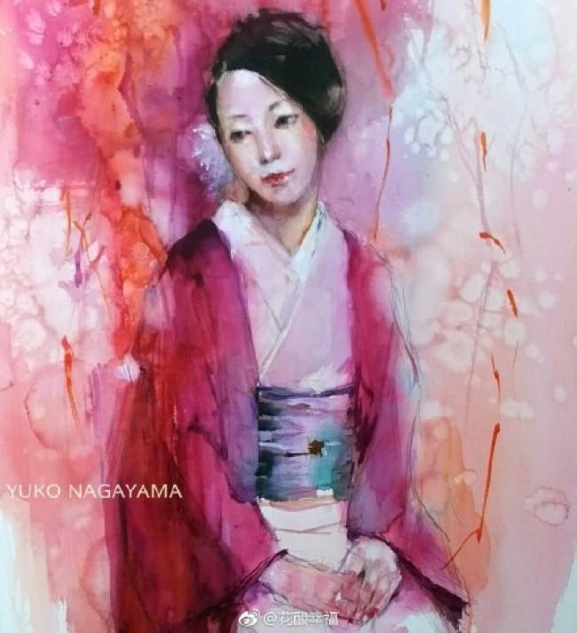 穿日式和服的女人水彩画手绘教程图片 日本女人 日本插画师永山裕子作品_www.youyix.com