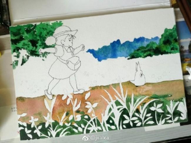 《龙猫》小梅和多多洛水彩画手绘教程图片 开心快乐的小梅和多多洛水彩画_www.youyix.com