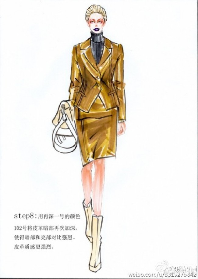 时装服装设计马克笔上色皮革材质表现手绘画教程图片_www.youyix.com