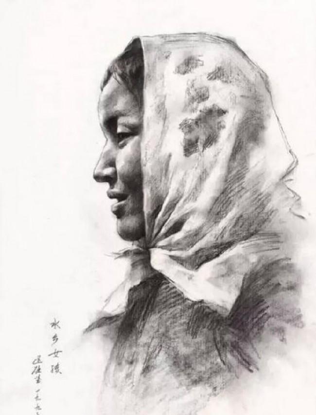 广州美院教授区础坚素描作品图片 美院老师的人像素描作品图片欣赏_www.youyix.com