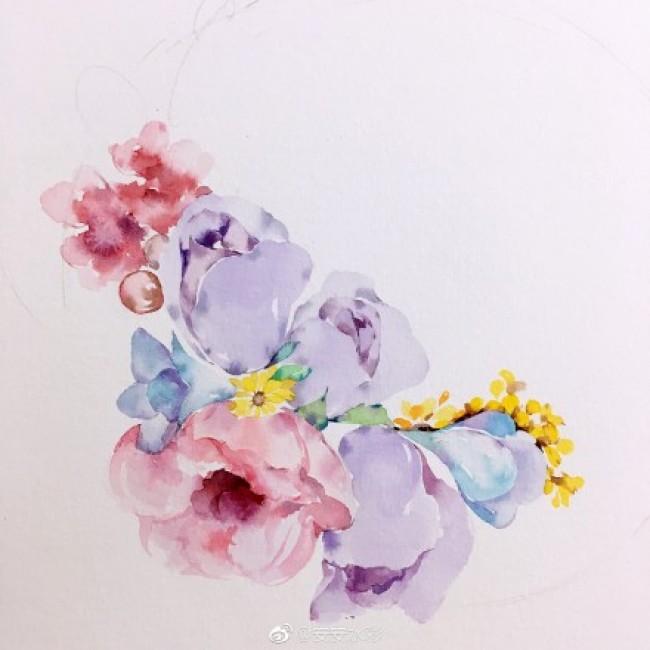 唯美有意境的花卉花环水彩手绘教程图片 花朵植物花环水彩画画法_www.youyix.com