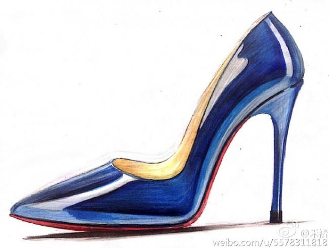 高跟鞋马克笔上色步骤教程图片 鞋履皮质质感马克笔怎么上色参考图片_www.youyix.com