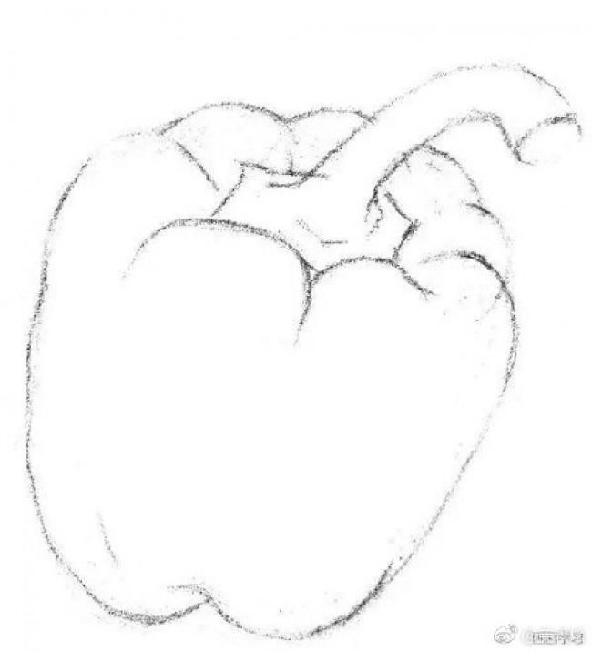 青椒素描手绘教程 蔬菜圆辣椒圆椒素描图片画法教程_www.youyix.com