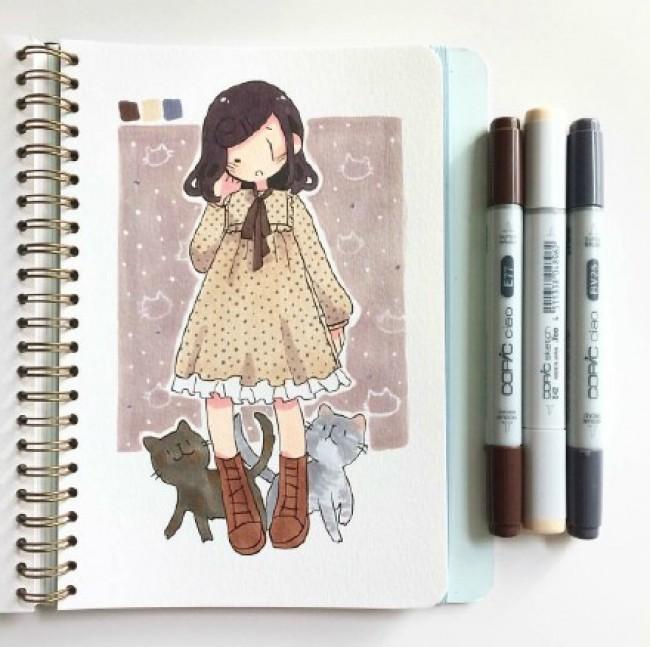 女生日常冬季服饰的动漫插画图片 很多好看的衣服哦_www.youyix.com