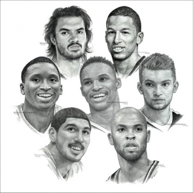 NBA球星球员素描头像手绘画合集图片 NBA球星的素描画图片_www.youyix.com