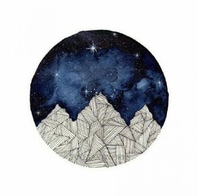 月亮水彩画图片 满月月亮水彩的画法 星球水彩画图片作品_www.youyix.com