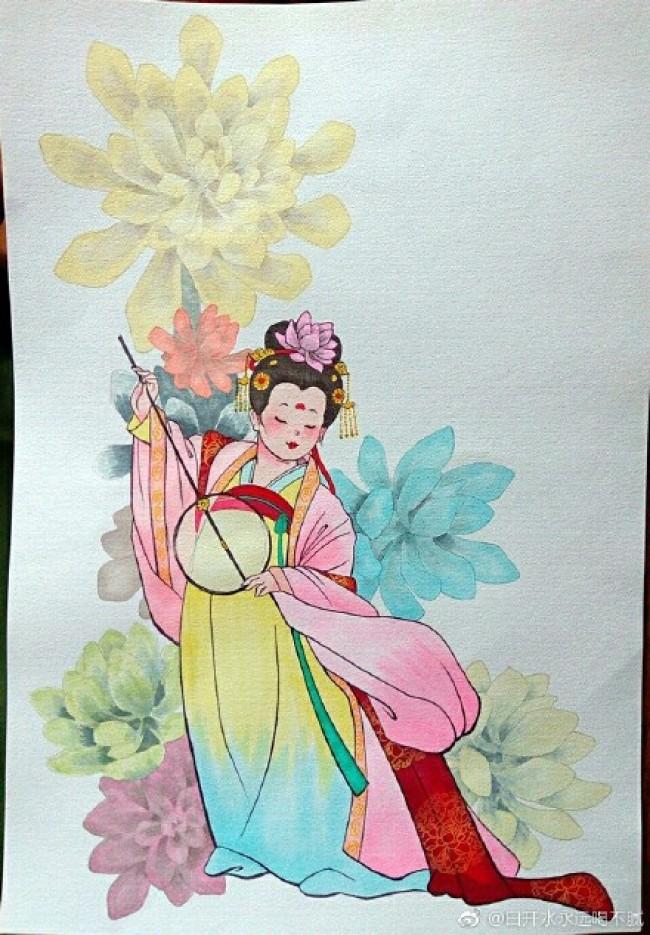 古风仕女马克笔教程 古代女子手绘教程图片 中国古代女人画法 怎么画_www.youyix.com