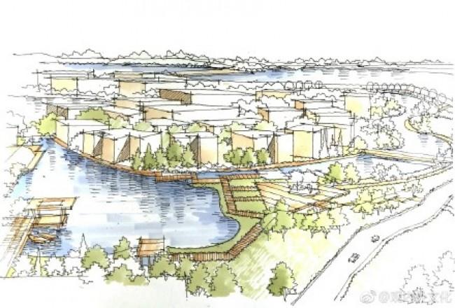 鸟瞰视角带水景建筑景观效果图手绘教程图片 带上色过程和线稿_www.youyix.com