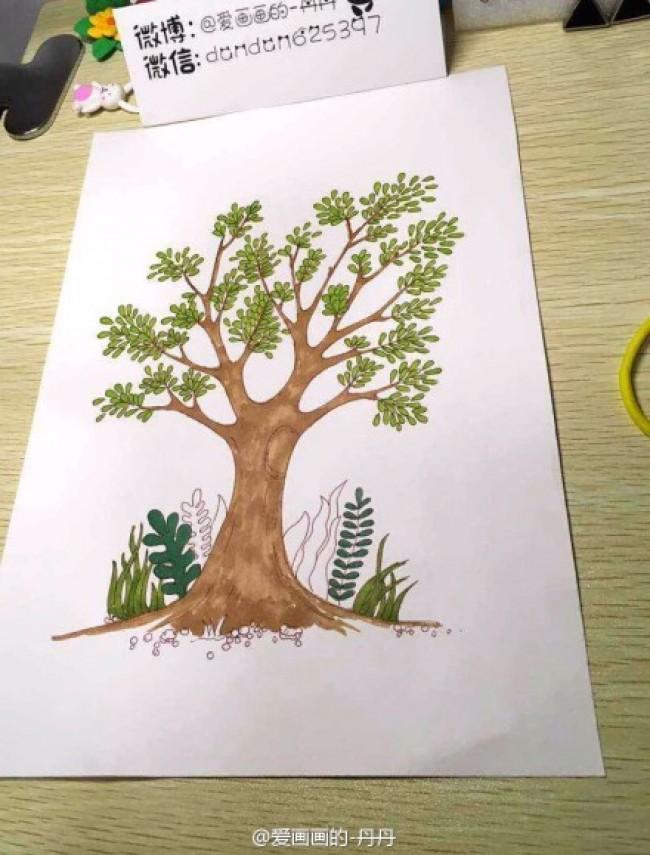 用马克笔简单的画一棵树手绘教程图片 马克笔怎么画树 树的画法_www.youyix.com