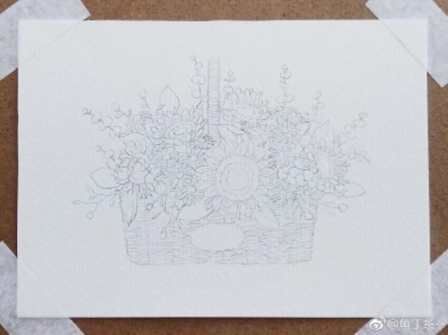 明媚的一篮子向日葵画水彩画图片 向日葵花篮手绘教程 向日葵水彩怎么画 画法_www.youyix.com