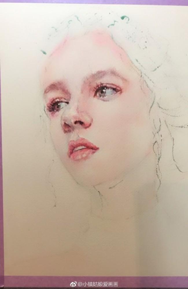唯美又性感的姑娘水彩画图片 美女头像人物肖像水彩手绘教程 上色步骤_www.youyix.com