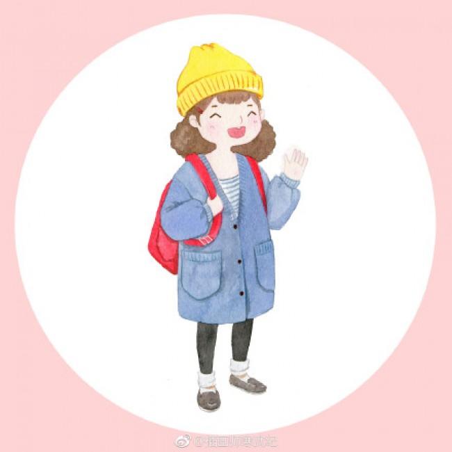 可爱萌系森女水彩画图片 Q版唯美小女生人物水彩画素材 可做头像_www.youyix.com