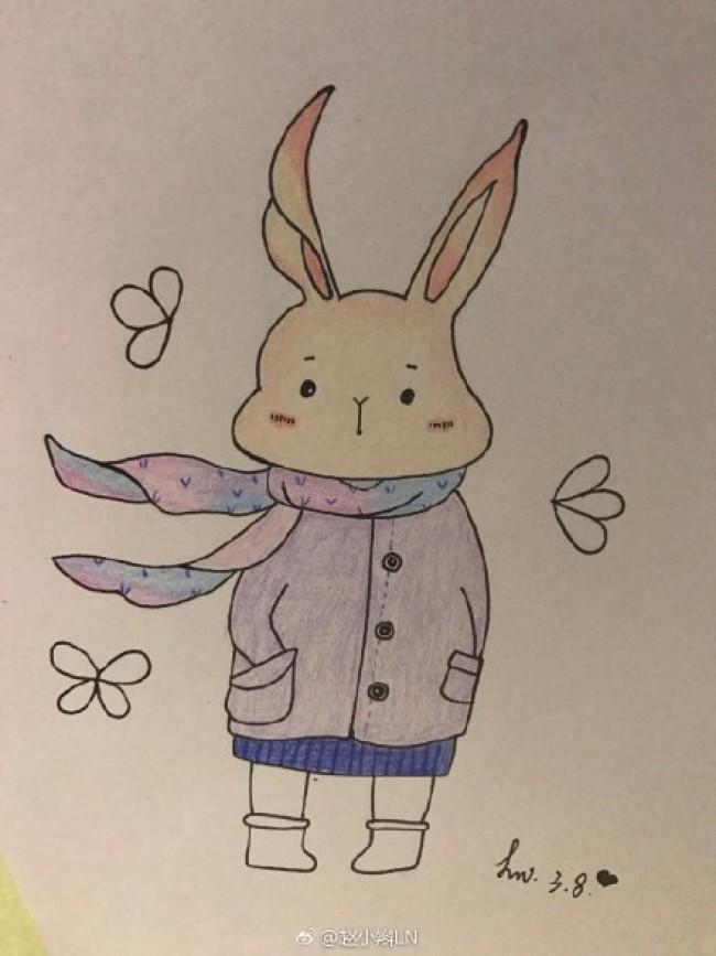 可爱萌的小兔子彩铅简笔画图片 穿衣服带围巾的小兔子手绘教程_www.youyix.com