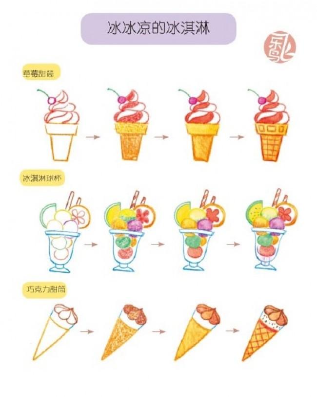 草莓甜筒 巧克力甜筒彩铅简笔画图片 冰激凌球杯彩铅手绘教程_www.youyix.com