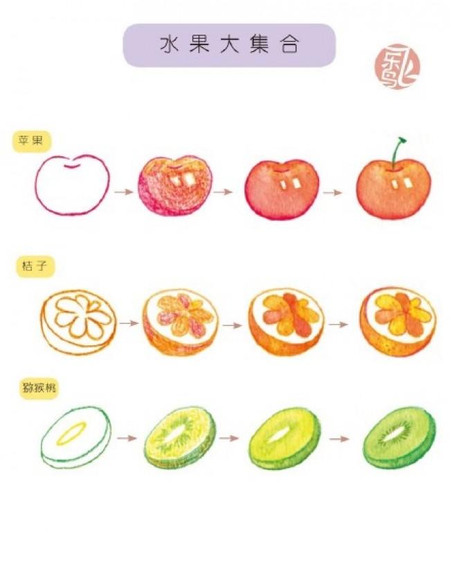 简单可爱水果彩铅简笔画图片手绘教程 苹果 橘子 猕猴桃怎么画 画法
