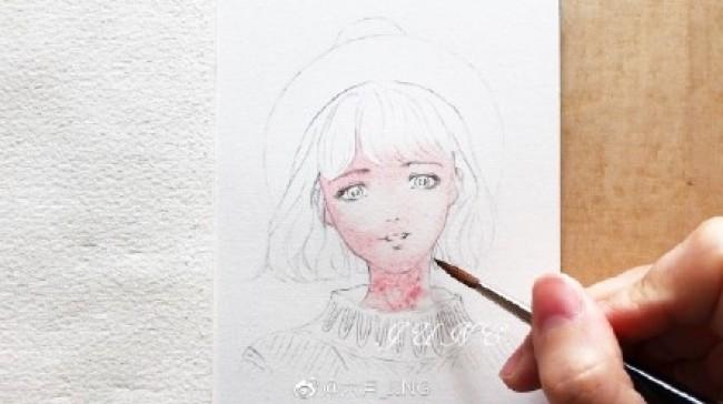 带小礼帽的少女水彩画图片 气质女生水彩手绘教程 画法_www.youyix.com