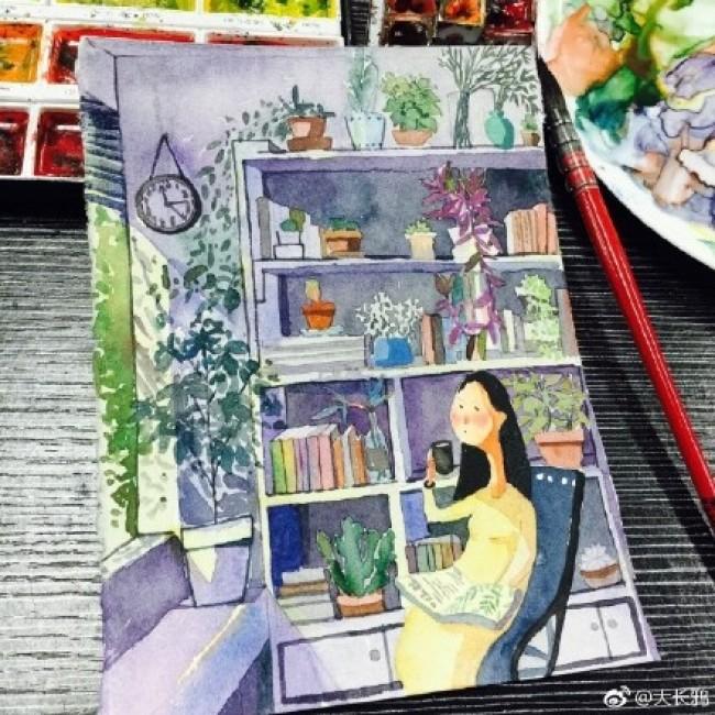 午后阳光下在书房喝咖啡看书的安静女生唯美意境水彩画插画手绘教程图片_www.youyix.com