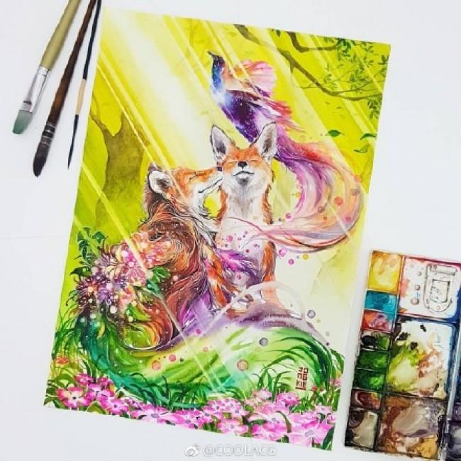 色彩艳丽奇幻风动物水彩插画图片作品 唯美有意境_www.youyix.com