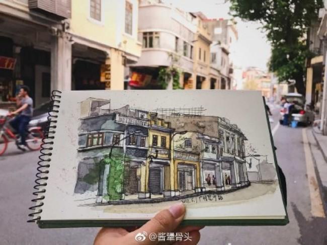 钢笔和水彩建筑速写写生手绘作品图片 用钢笔和水彩快速建筑风景手绘_www.youyix.com