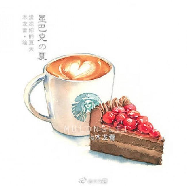 星巴克咖啡甜品水彩画图片 星巴克饮料水彩手绘 星巴克星冰乐蛋糕画法_www.youyix.com