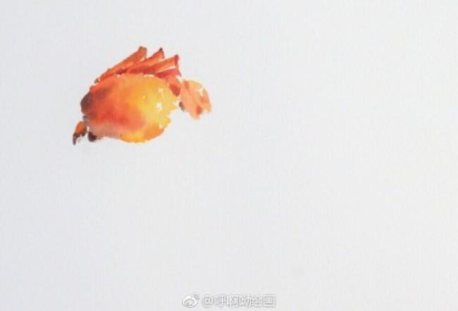 煮熟的大闸蟹美食水彩画图片 螃蟹水彩手绘教程 美味螃蟹怎么画 画法_www.youyix.com