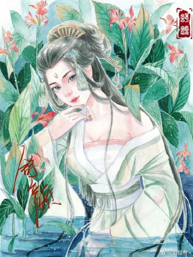 古风美丽女子水彩画 水中仙子女性古装水彩画手绘教程 线稿上色画法_www.youyix.com