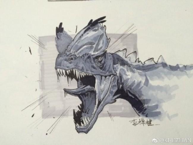 凶猛恐龙马克笔上色图片 带线稿和马克笔上色图 恐龙插画图片_www.youyix.com