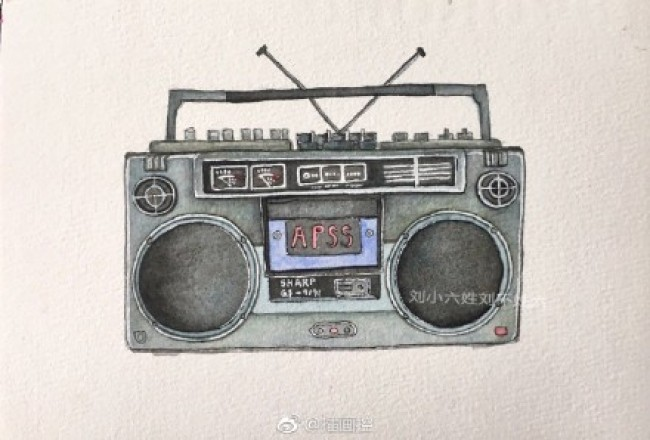 老式录音机水彩画图片 老式收音机水彩手绘教程图片 画法_www.youyix.com