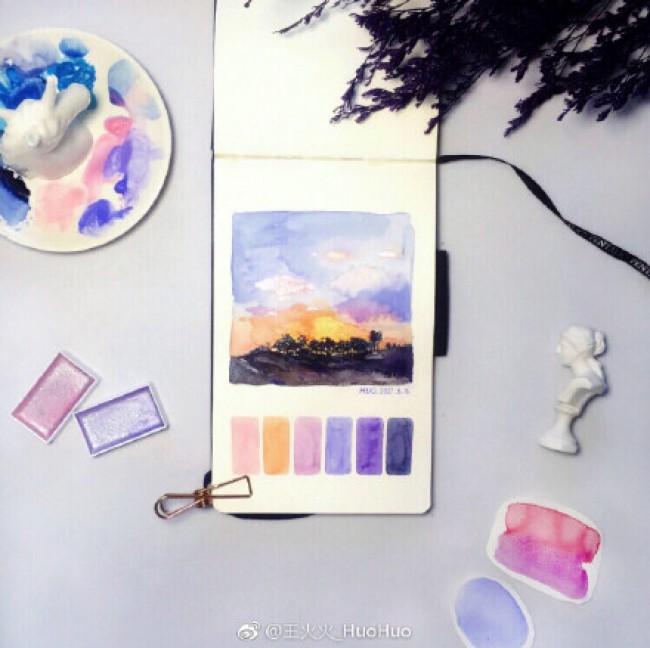 一组简单美丽的风景水彩速涂手绘小图 带色样 风景水彩图片_www.youyix.com