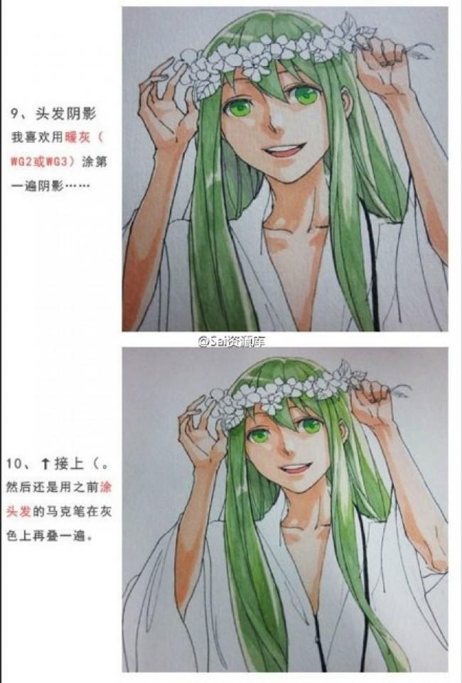 带花环的少女马克笔插画手绘教程图片 简单清新少女马克笔上色步骤画法_www.youyix.com