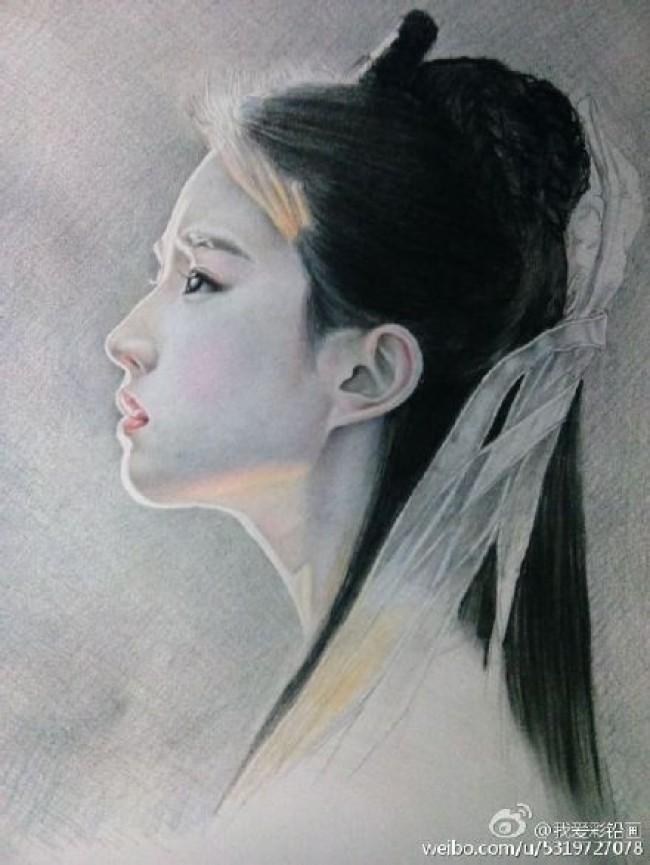 古装明星刘亦菲彩铅画图片 超美仙女刘亦菲彩铅手绘教程 刘亦菲怎么画画法_www.youyix.com