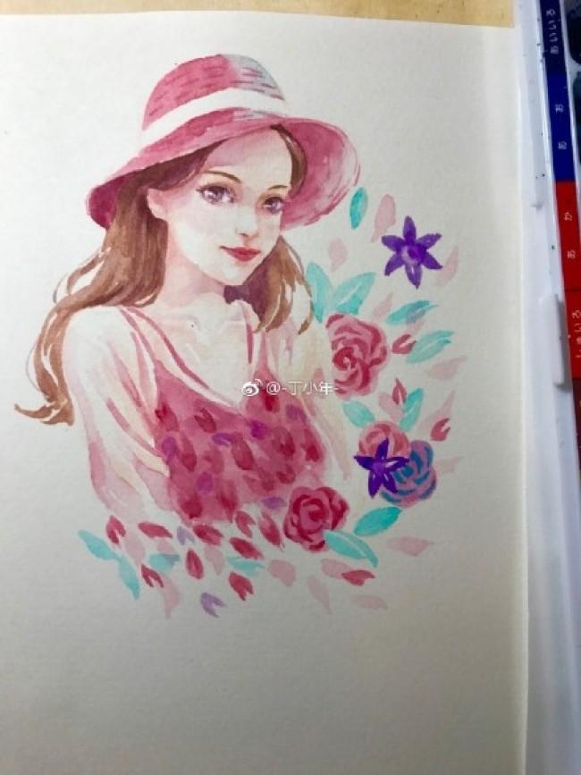 带遮阳帽的夏日漂亮女生水彩画手绘教程图片 鲜花围绕的小姐姐_www.youyix.com