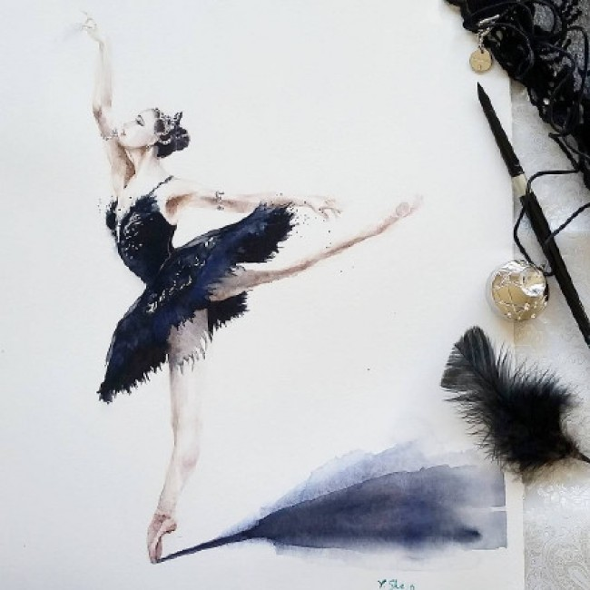 跳芭蕾的女生水彩画图片 穿芭蕾舞裙跳芭蕾的女生优美舞姿水彩画作品_www.youyix.com