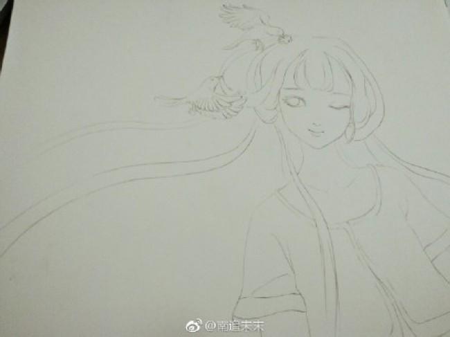 清纯甜美的古风女子水彩画图片 清纯甜美的古代女生水彩画教程_www.youyix.com