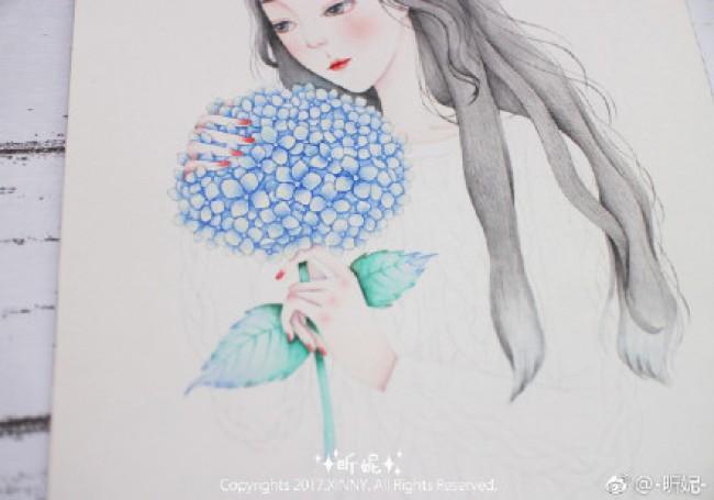 少女与绣球花水彩画图片教程步骤 唯美长发美女与鲜花球水彩手绘教程_www.youyix.com