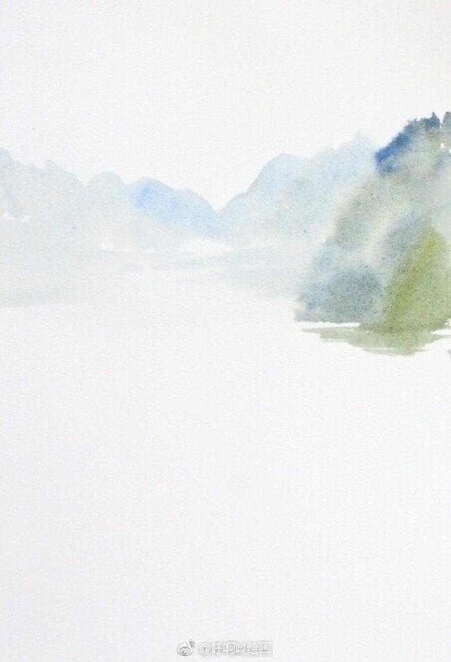 描绘桂林山水的水彩画图片 桂林山水水彩画手绘教程_www.youyix.com