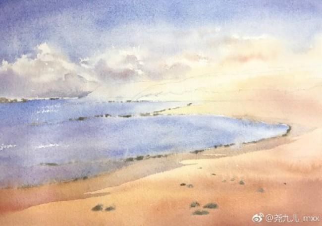 简单海边沙滩水彩画手绘教程图片 浪漫沙滩绘画怎么画 画法_www.youyix.com