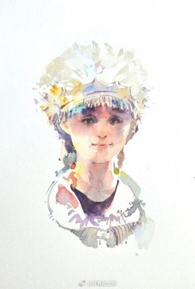 少数民族苗族少女水彩画简单画法教程图片_www.youyix.com