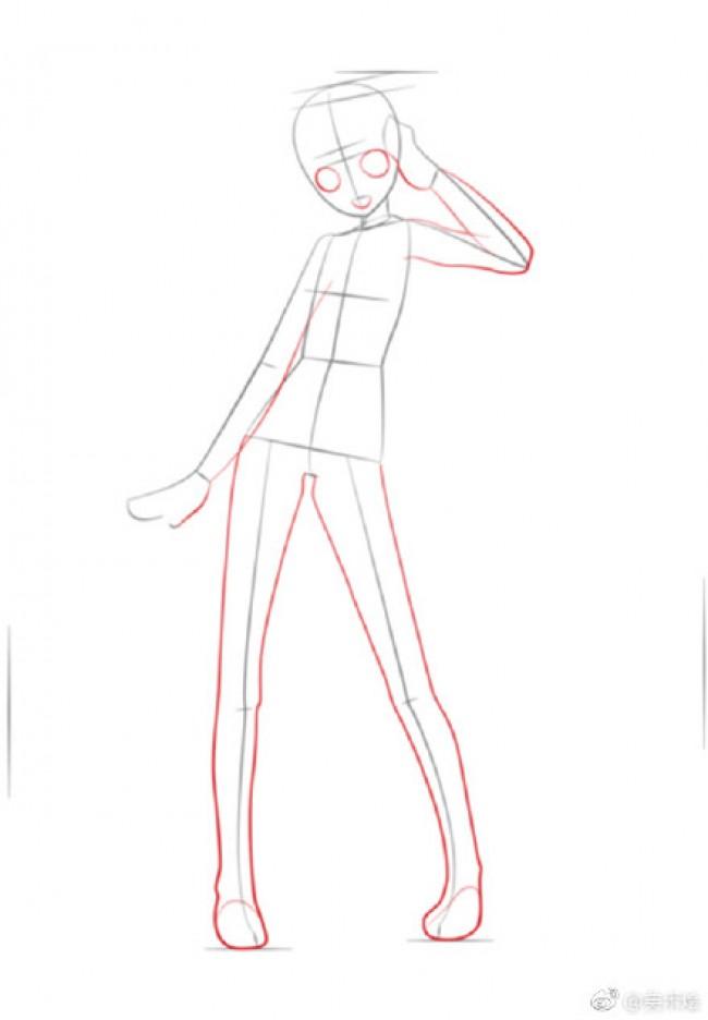初音未来动漫插画线稿画法 线稿步骤演示画法 身体结构比例展示_www.youyix.com