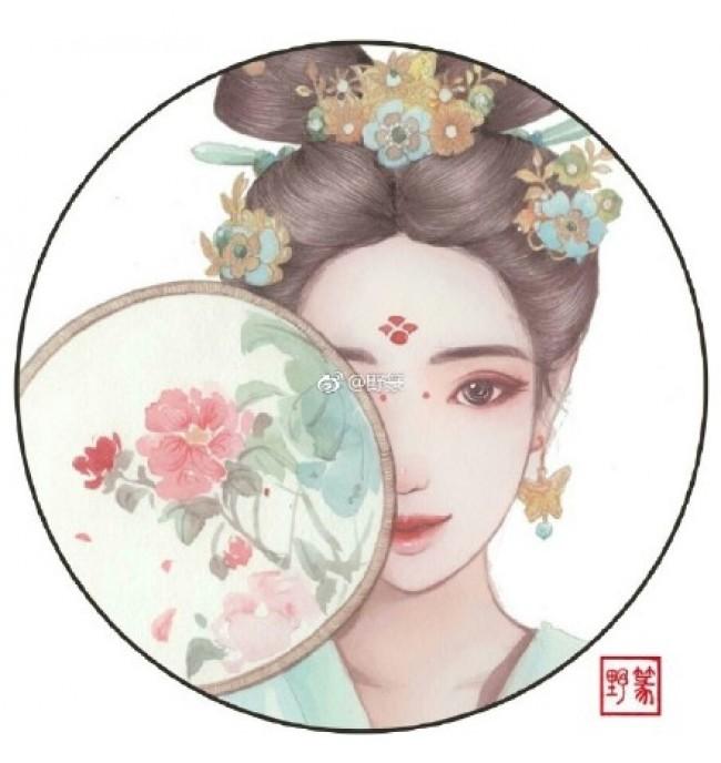 古风水彩女子专辑 倾世容颜只为君生 唯美古风插画_www.youyix.com