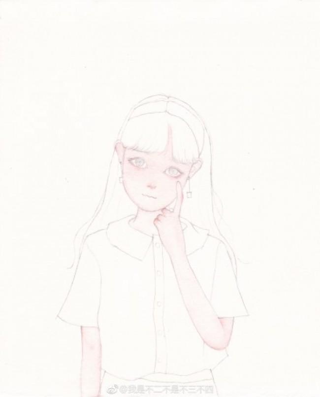 长发带发箍的女生唯美插画水彩手绘教程图片 画法_www.youyix.com