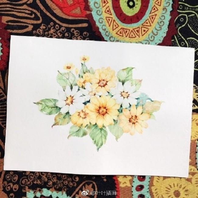 漂亮的小菊花水彩画图片 唯美的小菊花水彩手绘教程画法_www.youyix.com
