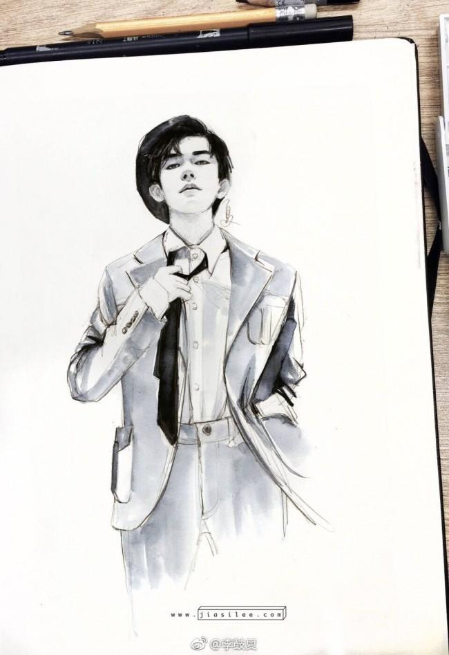 时尚帅气的易烊千玺水彩插画手绘教程图片 有步骤讲解_www.youyix.com