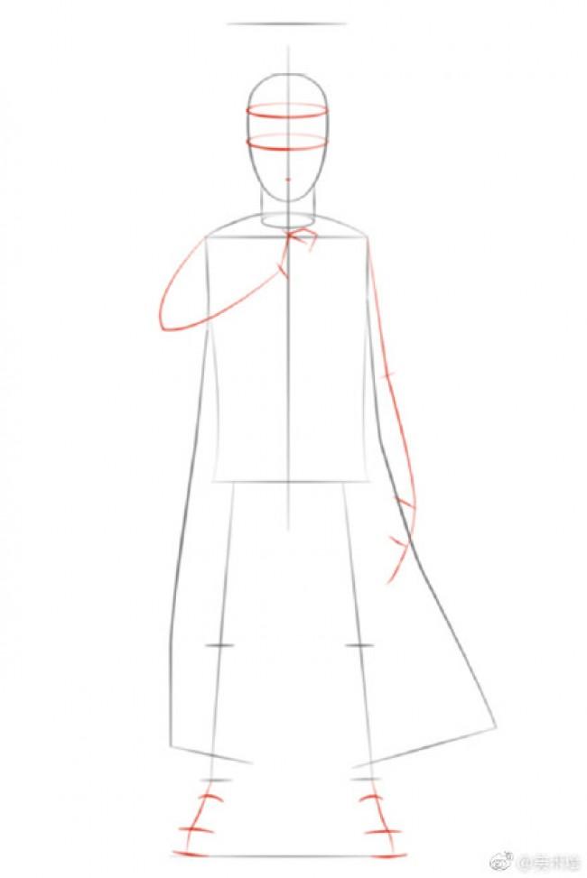 火影忍者人物插画线稿画法教程图片 人物结构步骤演示_www.youyix.com