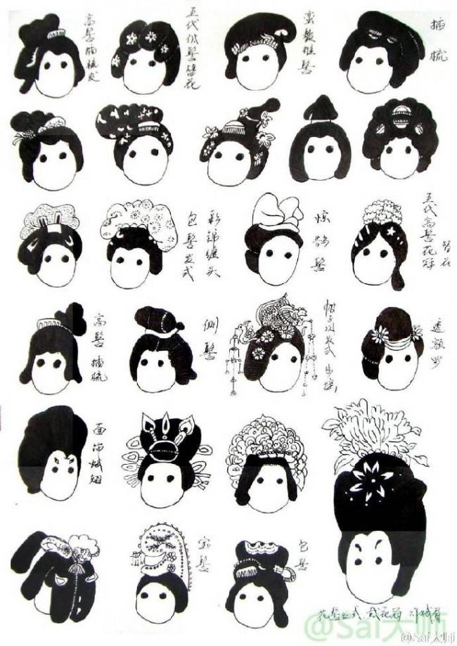 简单可爱的Q版古风女生人物发型示例大合集参考图片_www.youyix.com
