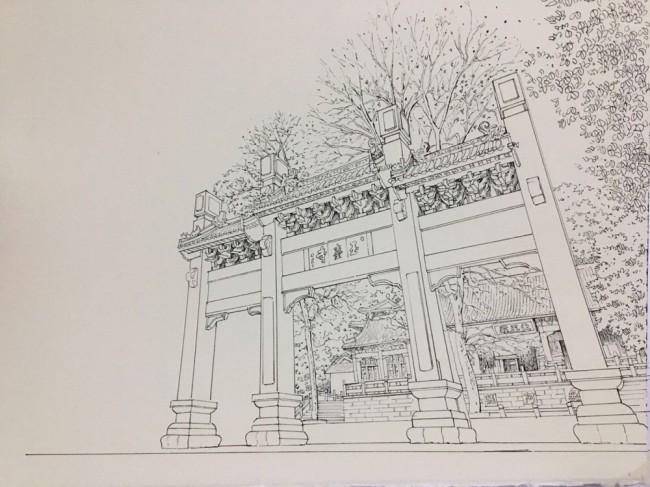 中国古建筑牌坊门楼钢笔画线稿图片_www.youyix.com
