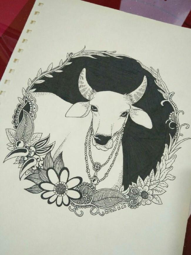 十二生肖针管笔黑白插画手绘图片作品 钢笔12生肖动物画法_www.youyix.com