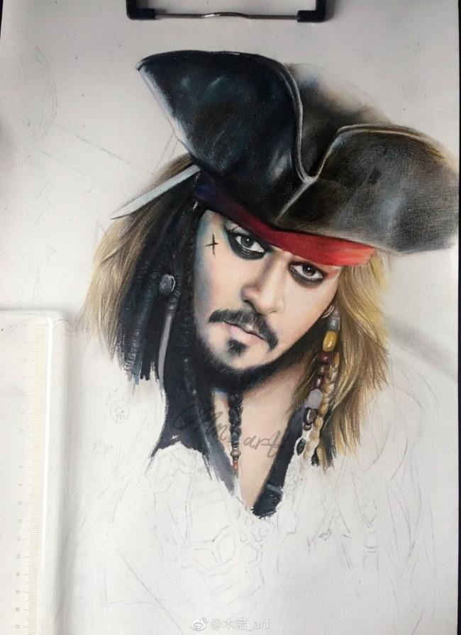 加勒比海盗杰克船长彩铅画图片 杰克船彩铅长手绘教程怎么画 画法_www.youyix.com