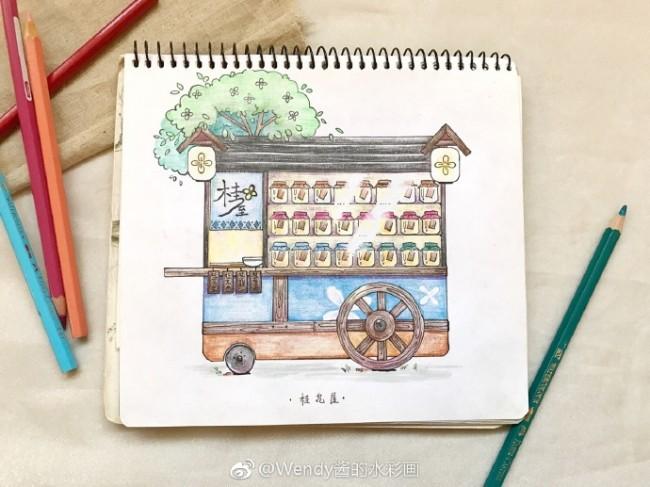 可以拿来练手的简单彩铅作品图片素材 画在速写本上的简单小清新彩铅_www.youyix.com