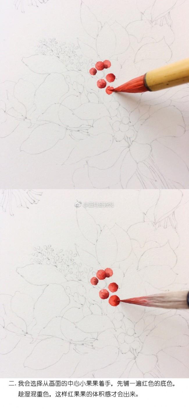 很美的爱心花环水彩手绘教程图片 漂亮的爱心花环水彩怎么画 画法_www.youyix.com